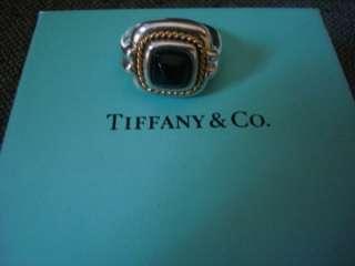 GENUINE TIFFANY BLACK ONYX, 18 KARAT GOLD, & STERLING SILVER RING