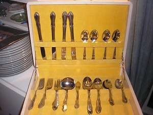SIMEON & GEORGE ROGERS ONEIDA 26PC. STAINLESS SILVERWARE SET IN WHITE