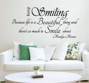 Keep Smiling ~ Marilyn Monroe Removable Wall Art Quote Art Decal