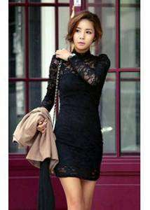 LACE TURTLE NECK MINI DRESS BLACK XS