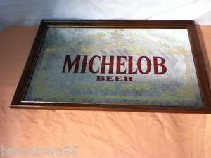 SIGN MIRROR BAR ADVERTISING VINTAGE ANHEUSER BUSCH BREWERY W 86