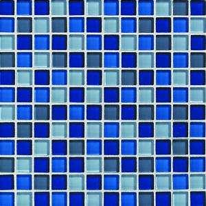 Circa Glass 12 in. x 12 in. Blue Lagoon Glass Mesh Mounted Mosaic Tile