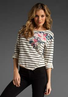 JUICY COUTURE Floral Boatneck Stripe Top in French Vanilla at Revolve
