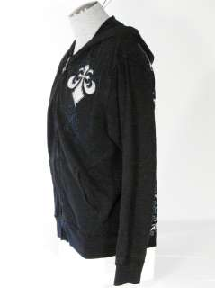 Affliction Vintage Monocle Skull Mens Black Hoodie NWT