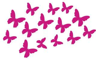 14 Silhouette Butterfly Wall Stickers Removable Nursery