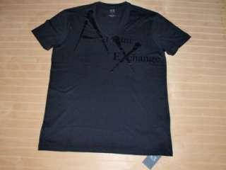 Armani Exchange AX Fashion V neck T Shirt Black NWT