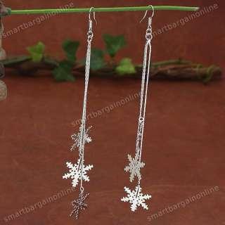 10*White Gold Plated Snowflake Long Dangle Earring Hook
