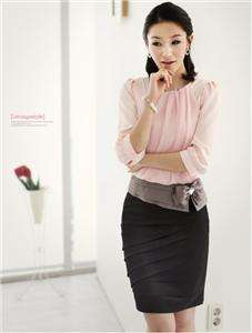 Elegant formal office chiffon blouse shirt + skirt set
