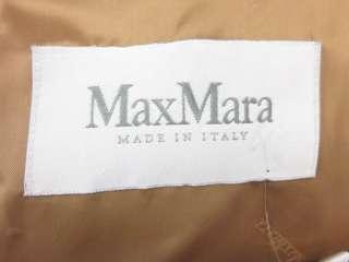 MAX MARA Tan Camel Hair Fur Trim Roll Collar Long Belted Coat Jacket
