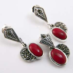 10+g Red Coral Gemstone Marcasite Genuine 925 Silver Earring Pendant