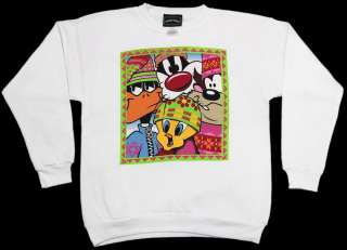White Throwback 90s Classic Looney Tunes Winter Crew Neck Sweatshirt