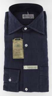 New $375 Borrelli Navy Blue Shirt 17.5/44