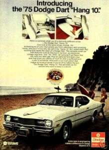 1974 Dodge Dart Hang 10 Beach Yellow Woman Bikini Ad
