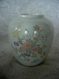 Vintage TAKAHASHI White Hand Painted Floral Vase   Japan
