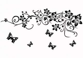 Vine Butterfly Leave Art Mural Vinyl Wall Sticker Deca 2 color