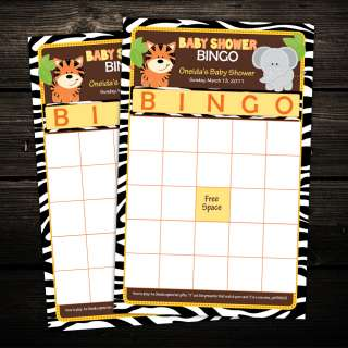 Zebra Jungle Safari Friends Baby Shower BINGO cards game activity