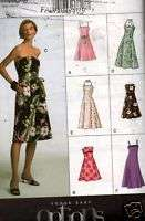 Sewing Pattern Vogue Womens Strapless Sun Dress Size 6