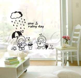 Rainy day bathroom kids removable vinyl art wall decals