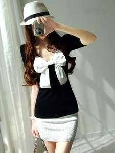 New Korea Women Big Bow Shining Diamond Mini dress White