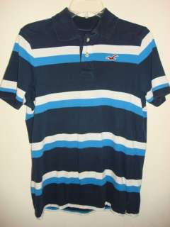 HOLLISTER MENS BLUE WHITE STRIPPED POLO SHIRT SIZE M