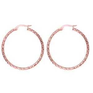 Diamond Cut Hoop Earrings 14K Rose Pink Gold 1 1/4