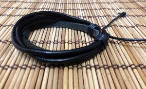 Men s black New Hemp Surfer Tribal Multi Strand Leather Bracelet
