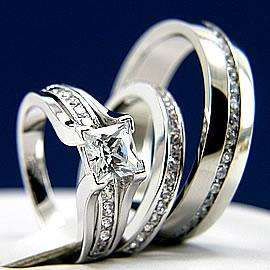 and Hers Engagement Mens and Womens Wedding Bridal Band Ring Set New
