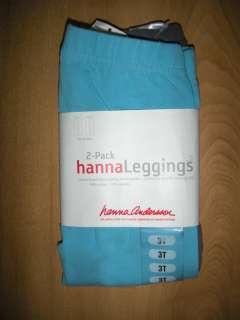 NWT Hanna Andersson 2pk Livable Leggings Cotton AQUA BLUE & GRAY Sz