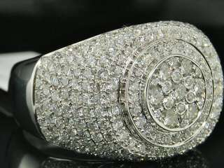 MENS 10K WHITE GOLD ROUND CUT VS DIAMOND PINKY RING 3.6