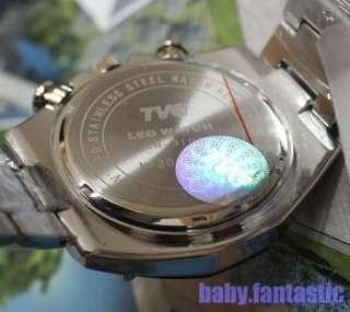 Rare Design Blue Binary LED Mens Shinshoku Black Watch 100% Water