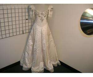 RANDI RAHM Ivory Duchess Silk Beaded Wedding Gown 4
