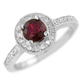 AAA RUBY & FINE DIAMONDS 14k WHITE GOLD ENGAGEMENT RING