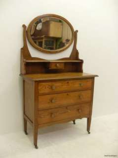 Stunning Arts & Crafts Oak Dressing Table   Swivel Mirror