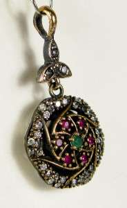 Art Deco 1.00ctw Emerald, Ruby & White Sapphire Rose Gold/925 Pendant