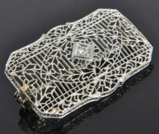 Antique Estate Vtg 14K White Gold Diamond Art Deco Lace Filigree Bar