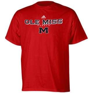 Ole Miss Mississippi Rebels Adidas True Red T Shirt sz XXL 2XL