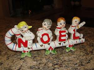 Rare VINTAGE CHRISTMAS CANDY CANE NOEL CANDLE HOLDERS