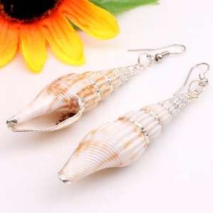 Large 75mm Natural White Sea Shell Beads Silver Line Dangling Hoop