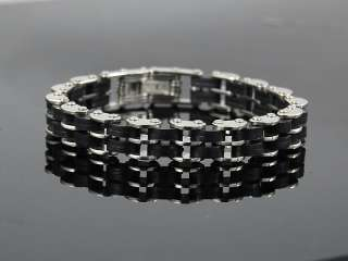 b052 GUYS Cool stainless steel rubber harley bracelet