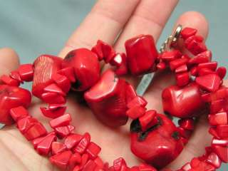 HUGE CHUNKY RED CORAL BEAD NECKLACE PIERCED EARRINGS SET NW41
