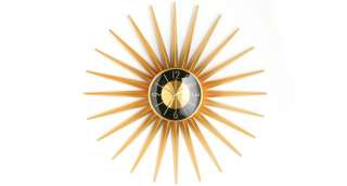 Aurora Large Modern Sunburst Gold Quartz Wall Clock