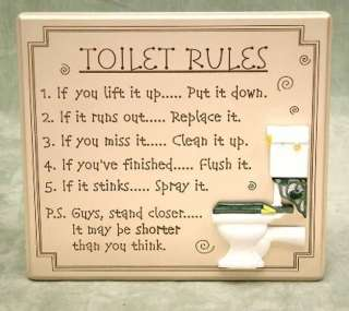 The Toilet Rules MDF Hanging Plaque   Fun Toilet Sign