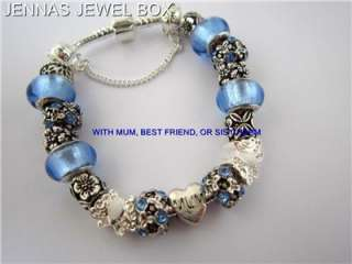 MUM, BEST FRIEND OR SIS CHARM BRACELET 20cms BLUE