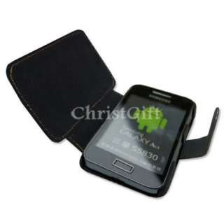 BLACK LEATHER WALLET CASE FOR SAMSUNG GALAXY ACE S5830