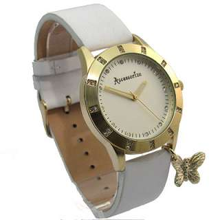 Superb Accessorize Ladies Watch White Leather Strap Butterfly Charm