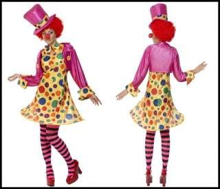 NEW CLOWN LADY FANCY DRESS CIRCUS COSTUME   S, M, L, XL