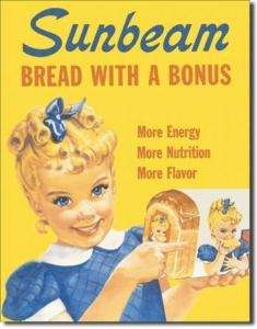 Little Miss SUNBEAM Bread Retro Advertising Tin Sign