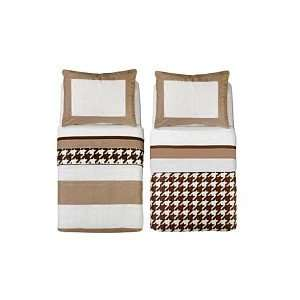 Bacati Metro Khaki, White & Chocolate 4pc Toddler Bedding