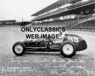 1951 LEE WALLARD  INDY 500  FIRESTONE PHOTO AUTO RACING