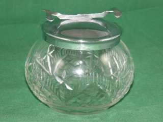 Vintage Antique Cut Glass Sugar Bowl & Lid with Spring Loaded Tongs